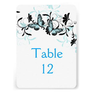 Elegant Floral Blue Butterfly Table card