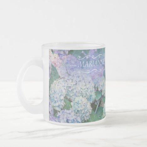 Elegant Floral Blue Hydrangea Monogram Name Frosted Glass Coffee Mug