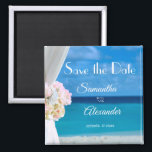 """Elegant Floral Blue Ocean Beach Save the Date Magnet<br><div class=""""desc"""">Elegant floral blue ocean beach summer save the date square magnet. The text can be changed using right the &quot;Details&quot; menu. To fit everything to your needs please click the &quot;Customize&quot; button and you can text style and colour change. Other colors are available. Please contact me if you need help...</div>"""