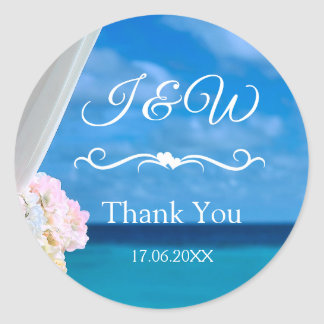 Elegant Floral Blue Ocean Beach Thank You Classic Round Sticker