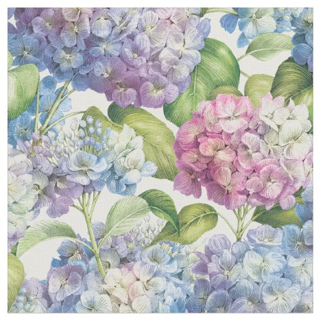 Elegant Floral Blue Purple Hydrangea Pattern Fabric