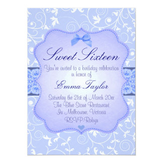 Elegant Floral Blue Sweet16 Birthday Invitation