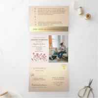 Elegant Floral Blush Pink Rose Gold Foil Tri-Fold Invitation
