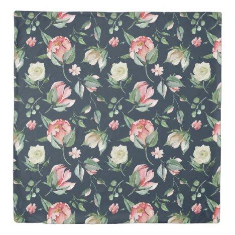 elegant floral blush roses navy blue duvet cover