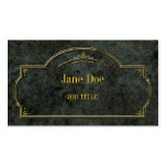 Elegant floral borders, gold on green marble Double-Sided standard business cards (Pack of 100)