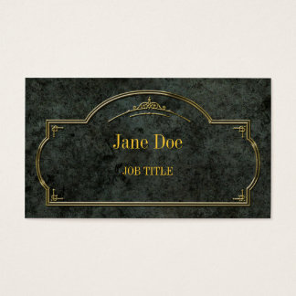 Elegant floral borders, gold on green marble business card