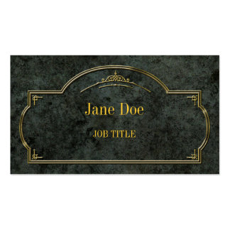 Elegant floral borders gold on green marble business card template