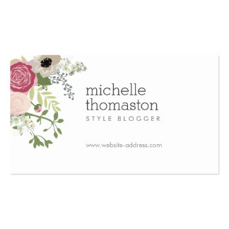 Elegant Floral Bouquet II Stylist, Blogger Double-Sided Standard Business Cards (Pack Of 100)