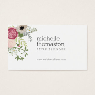 Elegant Floral Bouquet II Stylist, Blogger Business Card
