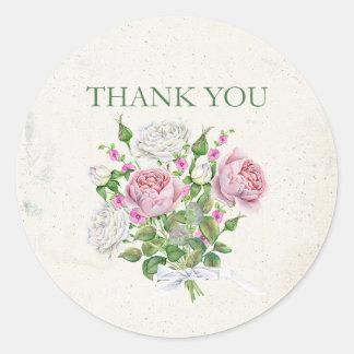 Elegant Floral Bouquet Thank You Classic Round Sticker