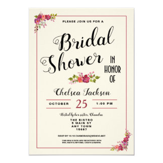 Elegant Floral Bridal Shower Cream Invitation