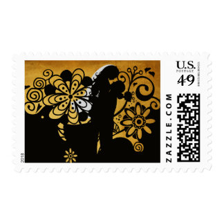 Elegant Floral Bride and Groom Postage