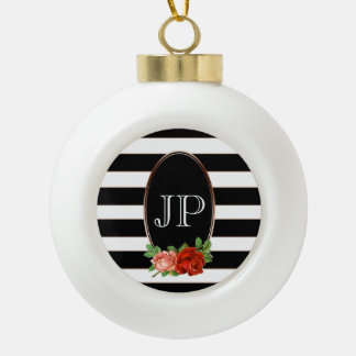 Elegant Floral Bronze Black White Striped Monogram Ceramic Ball Christmas Ornament