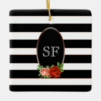 Elegant Floral Bronze Black White Striped Monogram Ceramic Ornament