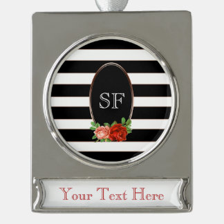 Elegant Floral Bronze Black White Striped Monogram Silver Plated Banner Ornament