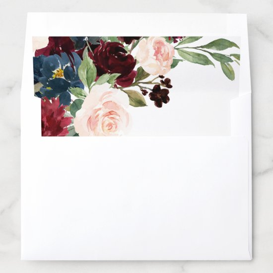Elegant Floral | Burgundy Marsala Bouquet Wedding Envelope Liner