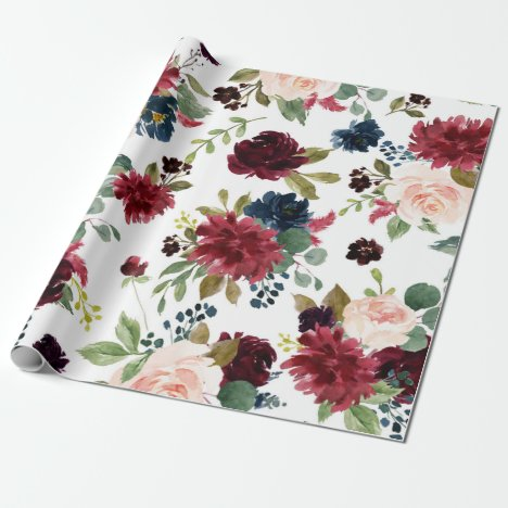 Elegant Floral | Burgundy Marsala Bouquet Wedding Wrapping Paper