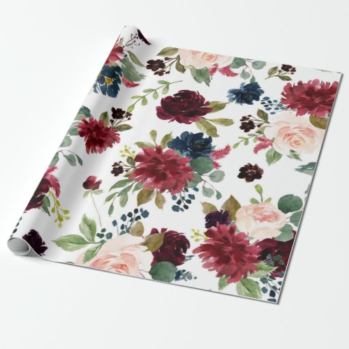 Elegant Floral | Burgundy Marsala Bouquet Wedding Wrapping Paper