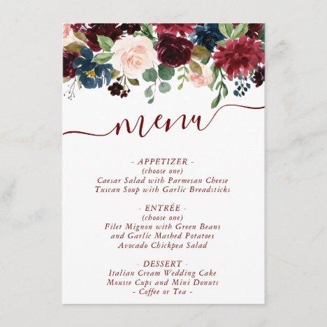 Elegant Floral   Burgundy Marsala Red Garland Menu