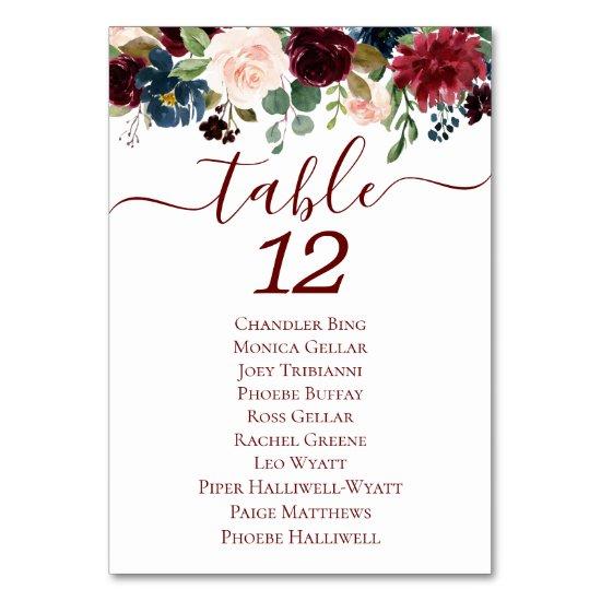 Elegant Floral | Burgundy Marsala Red Garland Table Number