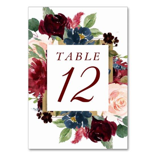 Elegant Floral | Burgundy Marsala Red Gold Frame Table Number