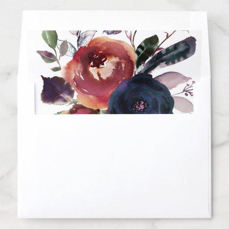 Elegant Floral Burgundy Navy Rose Gold Wedding Envelope Liner
