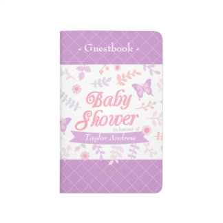 Elegant Floral Butterfly Baby Shower Guestbook Journal