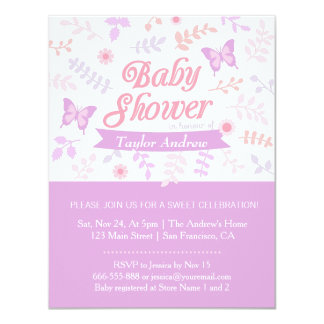 Elegant Floral Butterfly Baby Shower Invitations