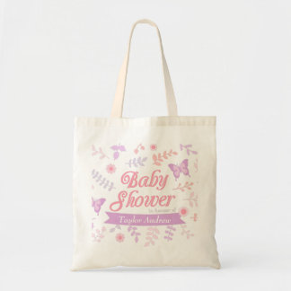 Elegant Floral Butterfly Baby Shower Mommy To Be Budget Tote Bag