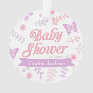 Elegant Floral Butterfly Baby Shower Mommy To Be Ornament