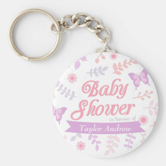 Elegant Floral Butterfly Baby Shower Party Favors Keychain