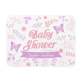 Elegant Floral Butterfly Baby Shower Party Favors Magnet