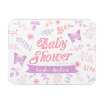 Elegant Floral Butterfly Baby Shower Party Favors Rectangular Photo Magnet
