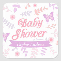 Elegant Floral Butterfly Baby Shower Party Square Sticker