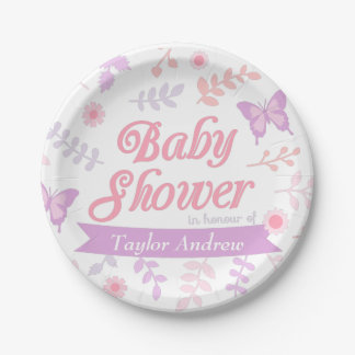 Elegant Floral Butterfly Baby Shower Party Supply 7 Inch Paper Plate