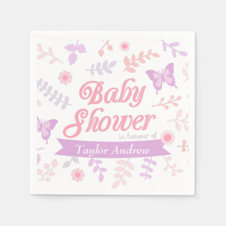Elegant Floral Butterfly Baby Shower Party Supply Paper Napkin