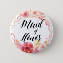 Elegant Floral Buttons Wreath Maid Of Honor