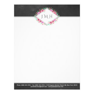 Elegant Floral Chalkboard Personal Or Business Letterhead