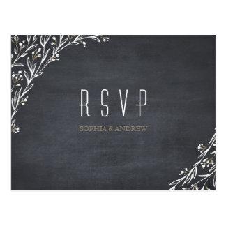 Elegant floral chalkboard rustic wedding RSVP Postcard