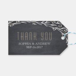 Elegant floral chalkboard rustic wedding thank you gift tags