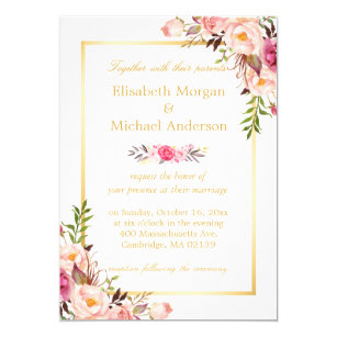 Formal invitations announcements zazzle elegant floral chic gold white formal wedding card stopboris Image collections