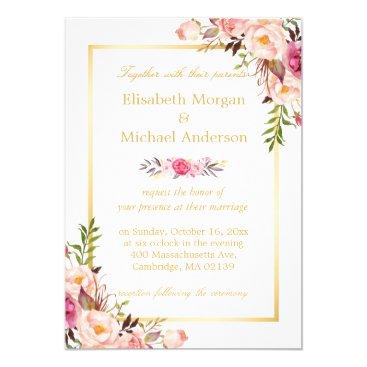 CardHunter Elegant Floral Chic Gold White Formal Wedding Card