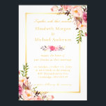 "Elegant Floral Chic Gold White Formal Wedding Invitation<br><div class=""desc"">================= ABOUT THIS DESIGN ================= Elegant Floral Chic Gold White Formal Wedding Invites. (1) You are able to CHANGE the White Background to ANY COLOR you like by clicking the &quot;Customize it&quot; button and setting the Background Color. The text color and size are adjustable too. (2) If you need any...</div>"