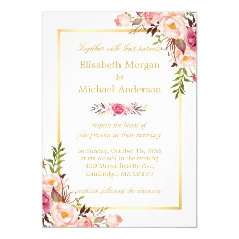 Elegant Floral Chic Gold White Formal Wedding Invitation