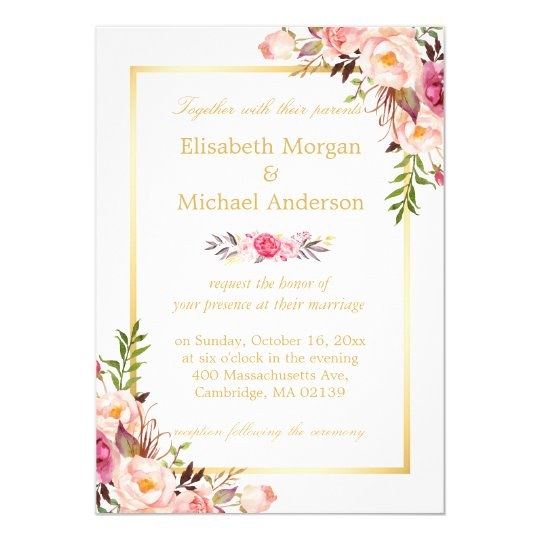 Elegant Floral Chic Gold White Formal Wedding Invitation Zazzle Com