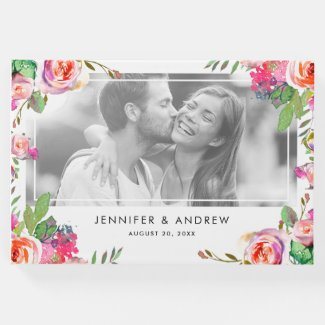 Elegant Floral Chic Photo Wedding Guest Book