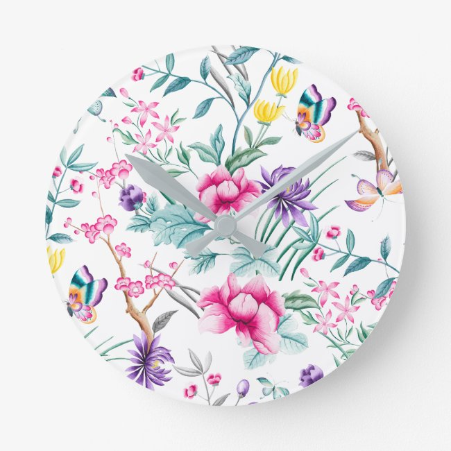 Elegant Floral Chinoiserie Wall Clock