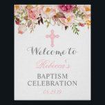 """Elegant Floral Christening Baptism Welcome Sign<br><div class=""""desc"""">Elegant Floral Christening Baptism Welcome Sign Poster (1) The default size is 8 x 10 inches, you can change it to any size. (2) For further customization, please click the &quot;customize further&quot; link and use our design tool to modify this template. (3) If you need help or matching items, please...</div>"""