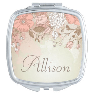 Elegant Floral Compact Mirror - Personalize