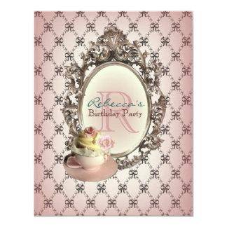 elegant  floral cupcake vintage birthday party card